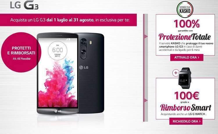LG G3: promozione protezione Kasko e rimborso di 100€ su acquisto di G Watch!