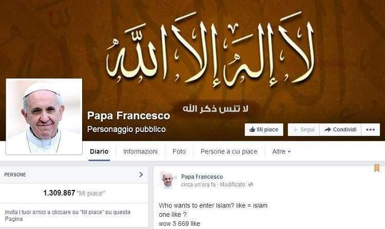 Hackerata e rubata la pagina Facebook di Papa Francesco