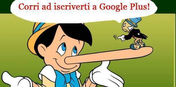 Fumetto con il grillo parlante che invita pinocchio ad iscriversi a Google Plus