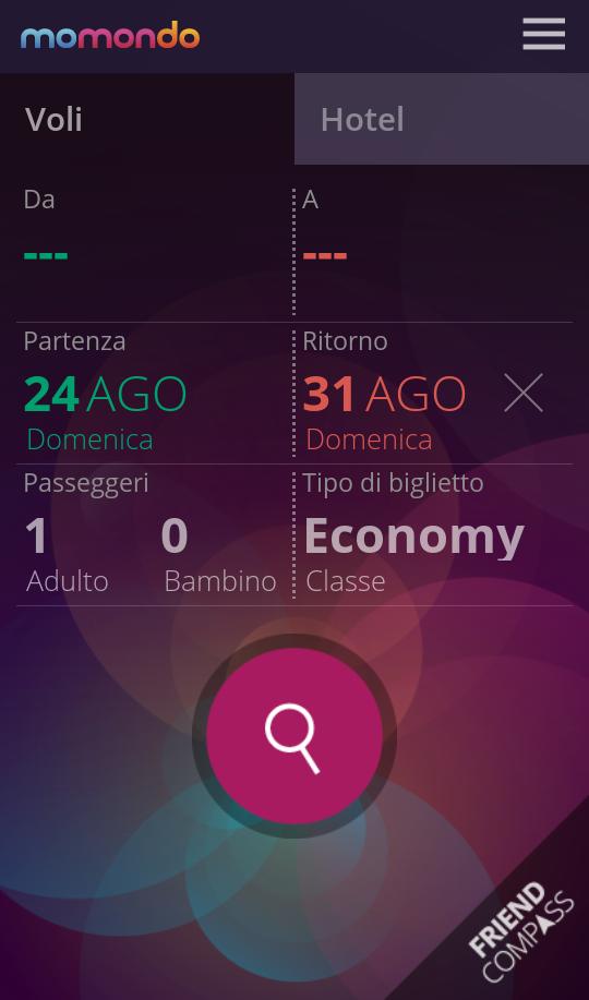 screenshot dall'applicazione di momondo