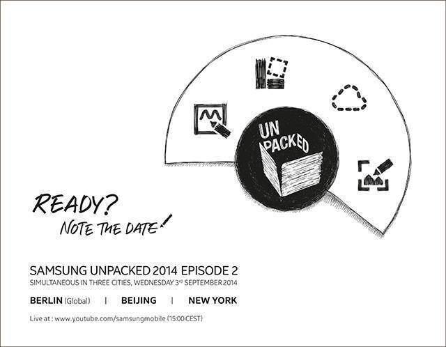 Locandina evento di presentazione del Samsung Galaxy Note 4