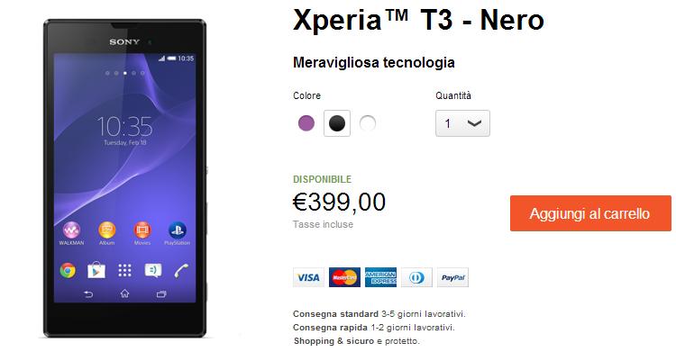 Sony Xperia T3 arriva in Italia: prezzo ufficiale a 399€