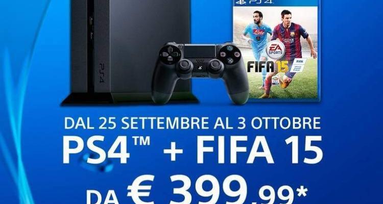 Promozione Playstation 4 con FIFA 15 in omaggio