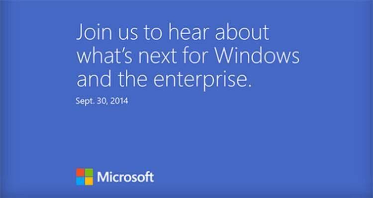 Invito per la presentazione di Windows 9 prevista per il 30 settembre 2014.