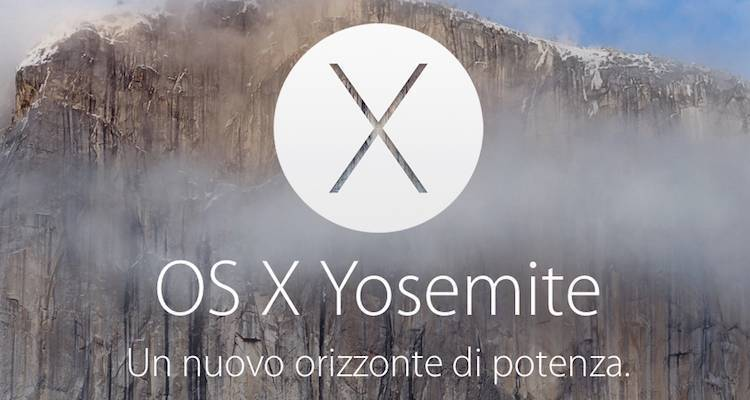 Screenshot del logo di OS X Yosemite presente sul sito Apple