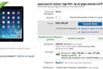 Screenshot della pagina eBay dedicata all'offerta iPad Air 16 GB Wi-Fi + Cellular a 399 euro