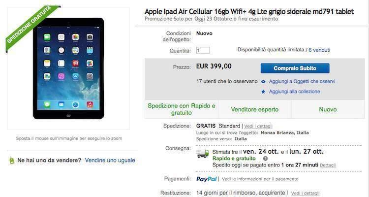 iPad Air 16 GB Wi-Fi + Cellular (4G) in super offerta su eBay!