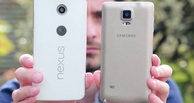Immagine del primo confronto video tra Motorola Nexus 6 e Samsung Galaxy Note 4