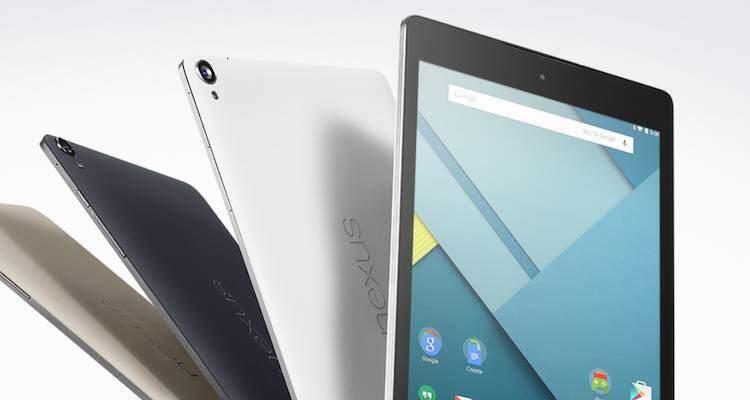 Screenshot dell'immagine promozionale del Nexus 9 presente sl sito web ufficiale