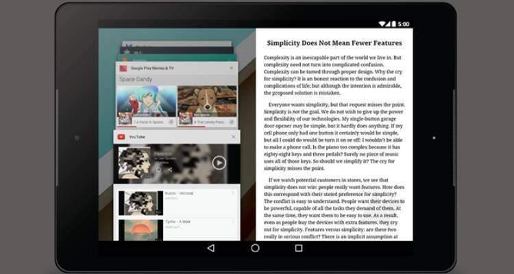 Google: prime immagini del multi-window su Android