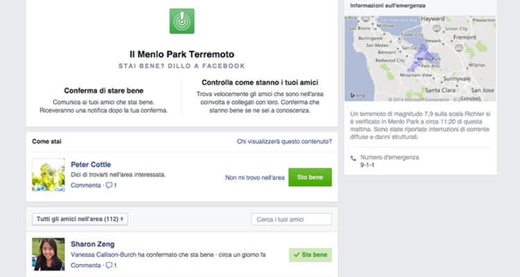 Schermata della funzionalità Safety Check di Facebook, che permette di segnalare la propria sicurezza in caso di condizioni di crisi.