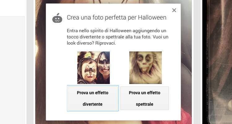 Screenshot della nuova modalità Auto Awesome disponibile su Google+ chiamata Halloweenify