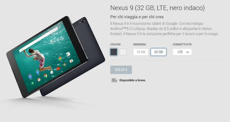 HTC Nexus 9 disponibile per il pre-ordine anche su Google Play