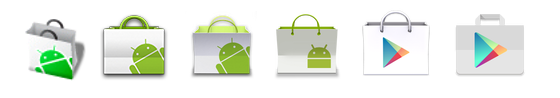 Il cambiamento dell'icona del Play Store negli anni.