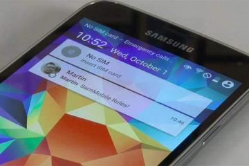 Immagine di una versione preliminare di Android L in esecuzione su Samsung Galaxy S5.