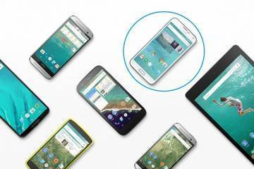 Immagine di Samsung Galaxy S5 Google Play Edition tra i vari dispositivi Android 5.0 Lollipop.