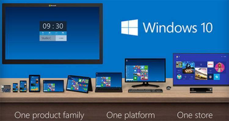 Immagine che mostra le varie interfacce di Windows 10 per smartphone, tablet, PC e Xbox.
