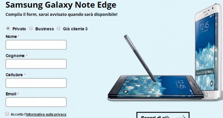 Pagina informativa di 3 Italia su Galaxy Note Edge