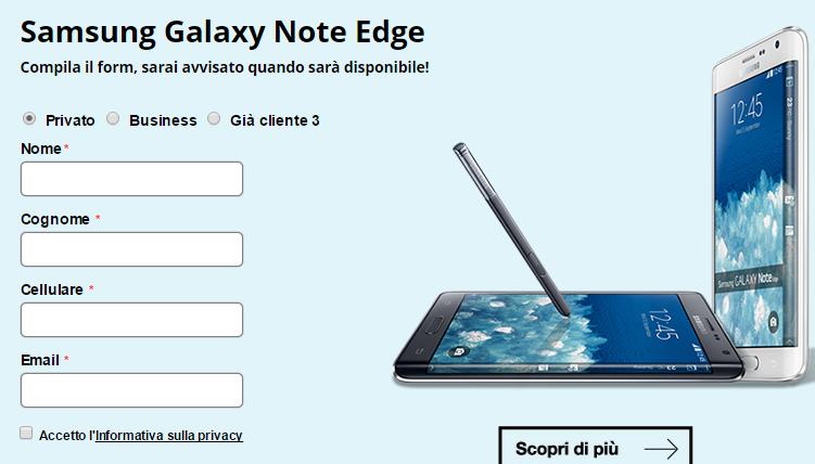 Samsung Galaxy Note Edge, a breve sul mercato con 3 Italia