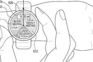 Immagine dello smartwatch con anello attorno al display annessa al brevetto Samsung