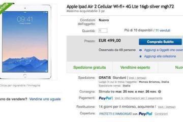 Screenshot della pagina su eBay della speciale offerta di vendita dedicata a iPad Air 2