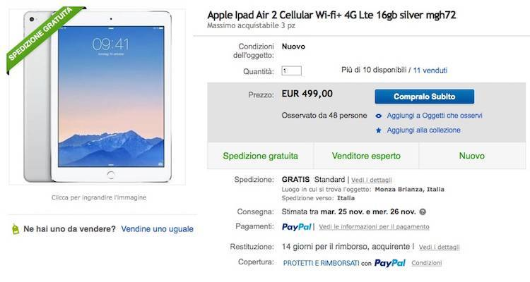 iPad Air 2, iPhone 6 e 5S in super offerta su eBay!