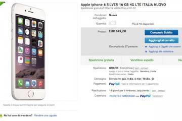 Screenshot dell'offerta su eBay dedicata a Iphone 6