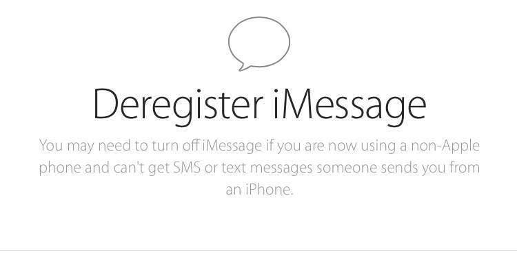 Screenshot del tool Apple per annulare la registrazione a iMessage
