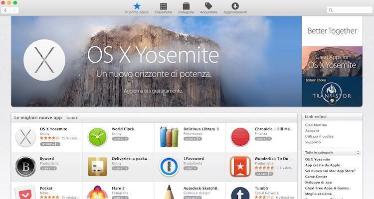 Screenshot del Mac App Store con il nuovo design in stile OS X Yosemite