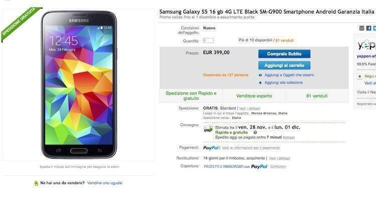 Screenshot dell'offerta su eBay dedicata al Samsung Galaxy S5