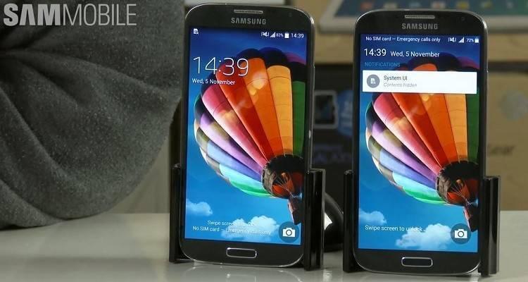 Immagine di confronto tra il Galaxy S4 con Android Lollipop e con Kitkat