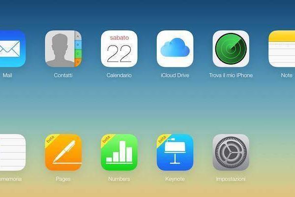 Screenshot della home di iCloud.com