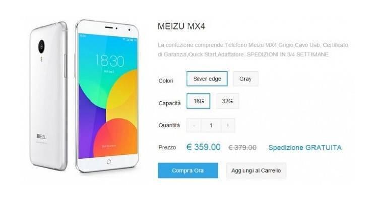 Pagina d'acquisto di Meizu MX4 Silveredge