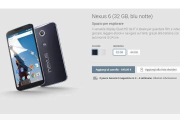 Immagine Nexus 6 su Google Play Store