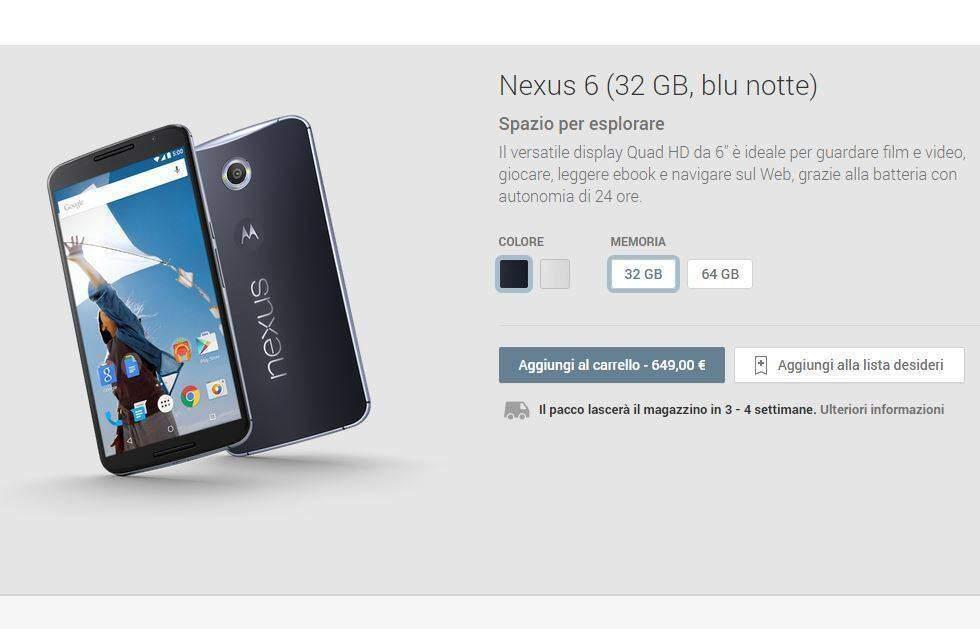 Nexus 6 finalmente disponibile in Italia tramite il Google Play Store