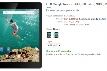 HTC Nexus 9 da 16GB ora disponibile su Amazon Italia