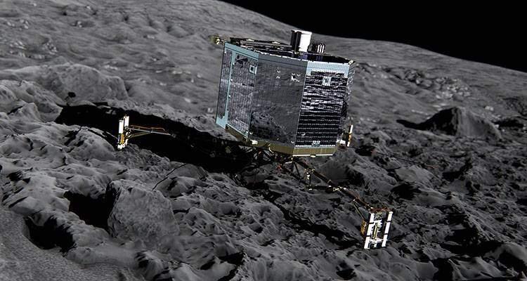 Immagine del lander Philae, trasportato dalla sonda Rosetta nell'ambito dell'omonima missione.