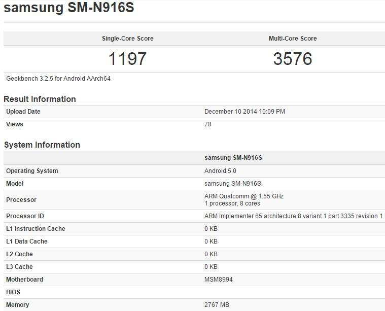 Benchmark variante Samsung Galaxy Note 4