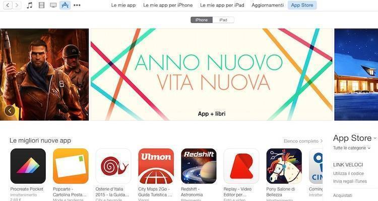 Screenshot di iTunes Store da Mac