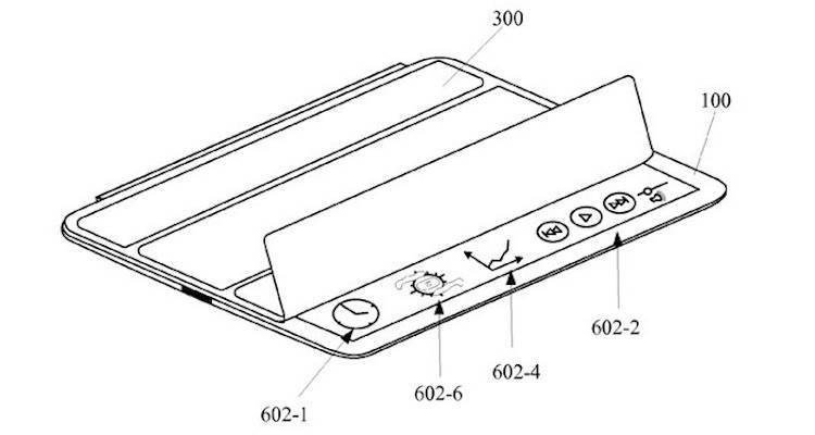 Immagine del nuovo brevetto Apple che illustra una smart cover intelligente per i futuri iPad