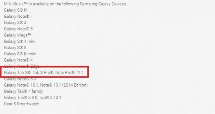 Screenshot del change log di Milk Music da cui si deduce l'arrivo di un Samsung Galaxy Tab S Pro da 12 pollici