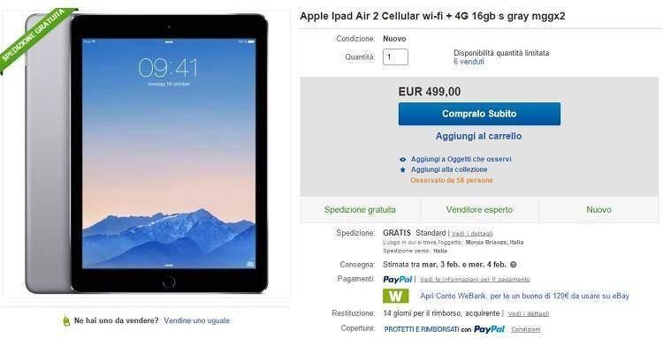 iPad Air 2 Cellular + 4G in offerta al prezzo di soli 499€ su ebay