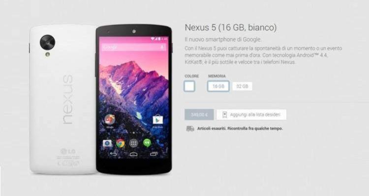 Il Play Store esaurisce le scorte di Nexus 5