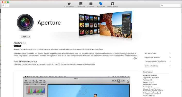 Screenshot dell'app Aperture su Mac App Store