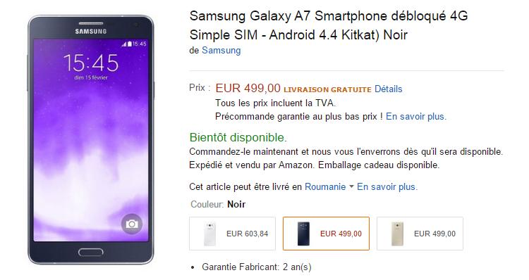 Samsung Galaxy A7 in pre-ordine su Amazon Francia