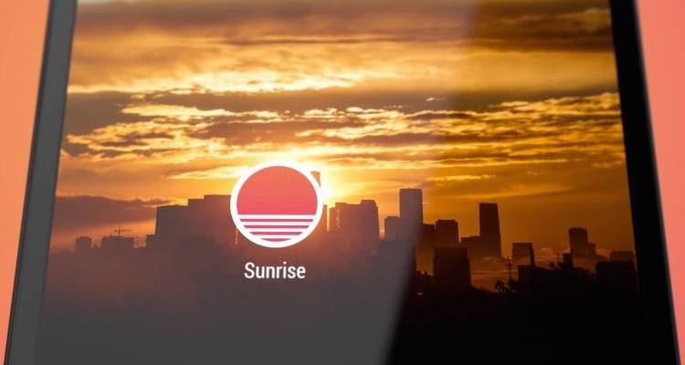 Screenshot del video di presentazione dell'app Sunrise per dispositivi Android