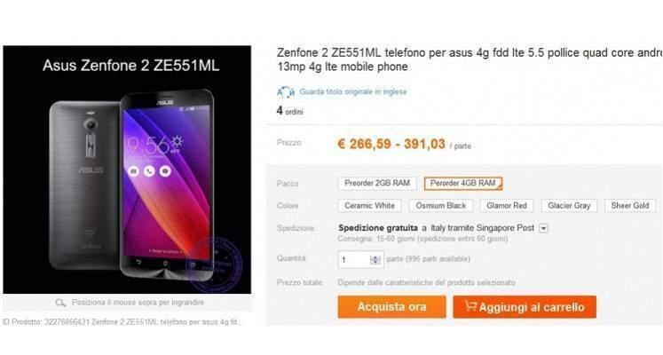 Asus Zenfone 2 in pre-ordine sul mercato cinese