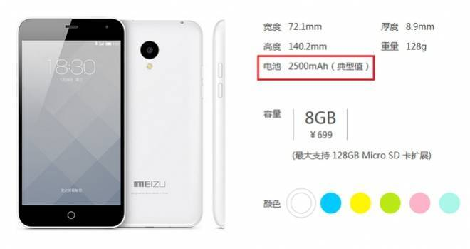 Meizu M1 Note Mini: ridotta la capienza della batteria