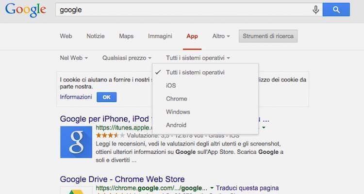 Screenshot che mostra la nuova funzione di ricerca selettiva delle app di Google Search