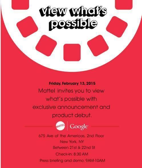 Immagine che mostra l'invito recapitato da Google alla stampa USA per l'evento che si terrà il 13 febbraio in collaborazione con Mattel